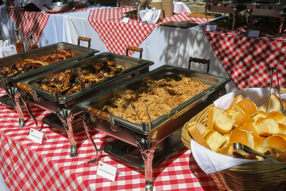 BBQ catering buffet station.